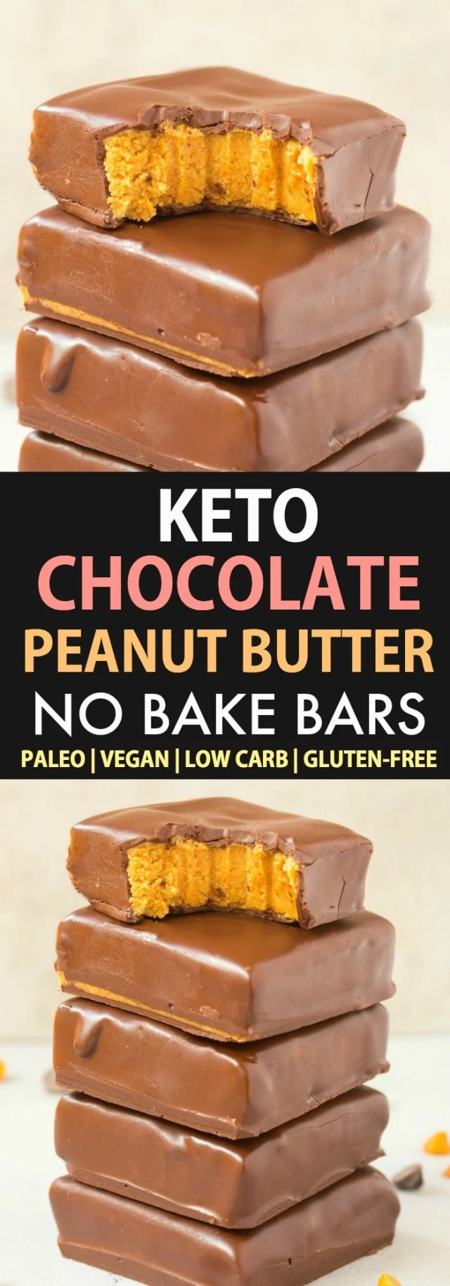 A collage featuring two images of keto chocolate peanut butter no bake bars, with the text saying Keto Chocolate Peanut Butter No Bake Bars.