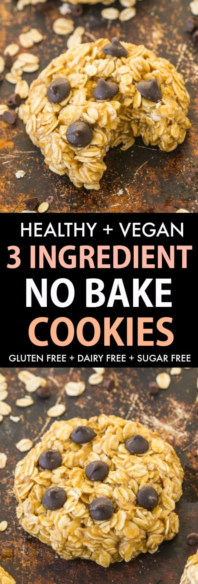 3 Ingredient Vegan No Bake Cookies with oatmeal and chocolate chips