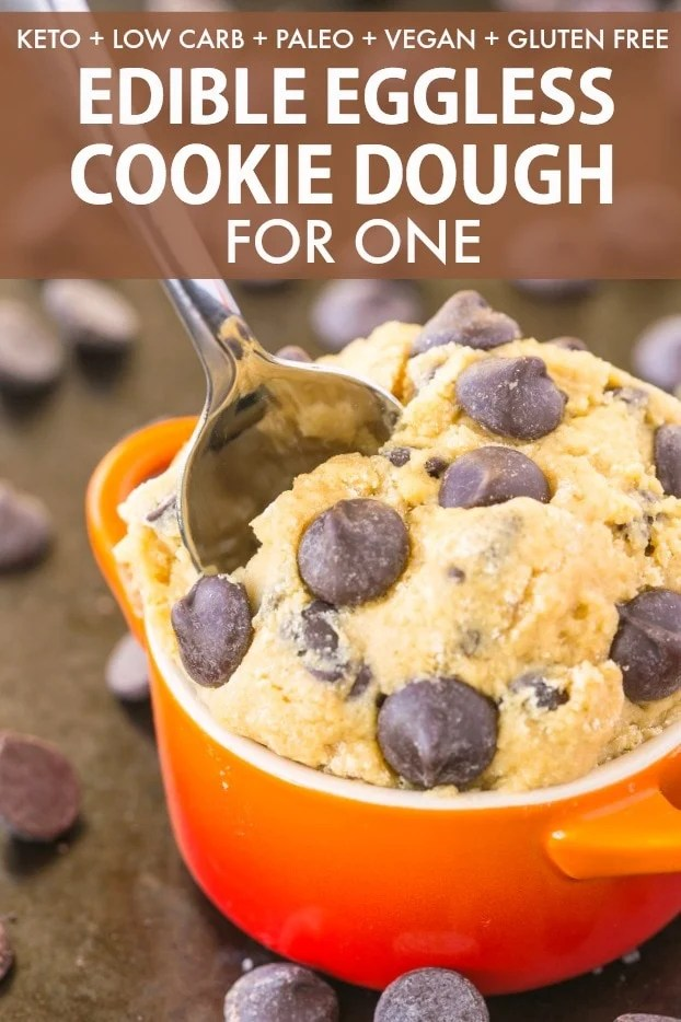 A bowl of edible eggless cookie dough for one