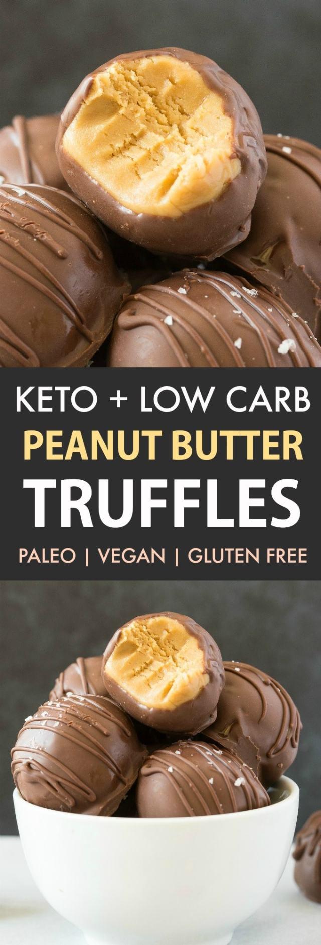 Keto Chocolate Peanut Butter Truffles in a white bowl.