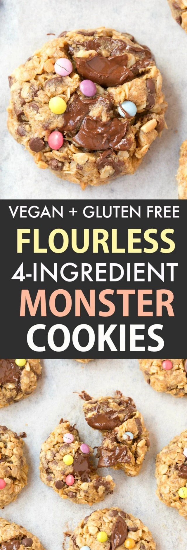 4 ingredient flourless monster cookies which are vegan and eggless
