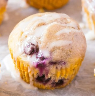 A tender and moist blueberry lemon muffin topped with a coconut butter glaze