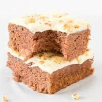Low Carb Keto Carrot Cake Recipe made with almond flour and topped with a cream cheese frosting