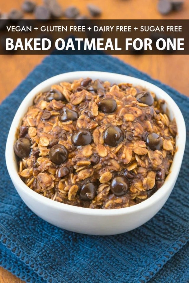 Easy Vegan Baked Oatmeal recipe with chocolate chips and cocoa powder