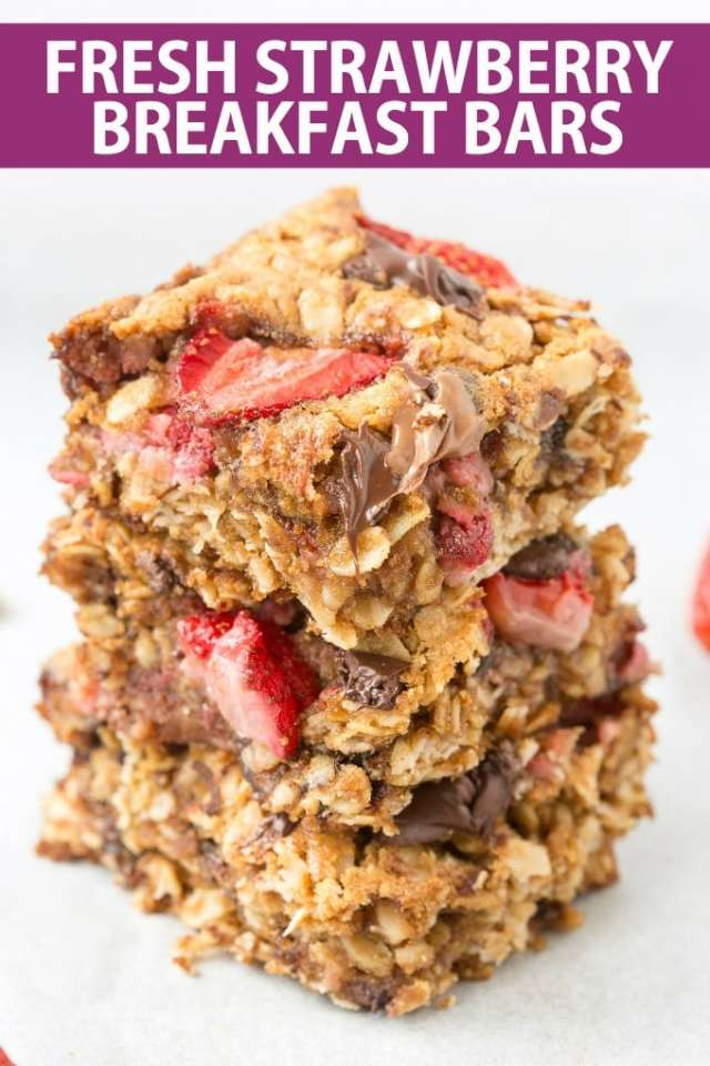 Healthy strawberry oatmeal bars made without flour, without butter! Vegan, Gluten free and ready in 20 minutes!