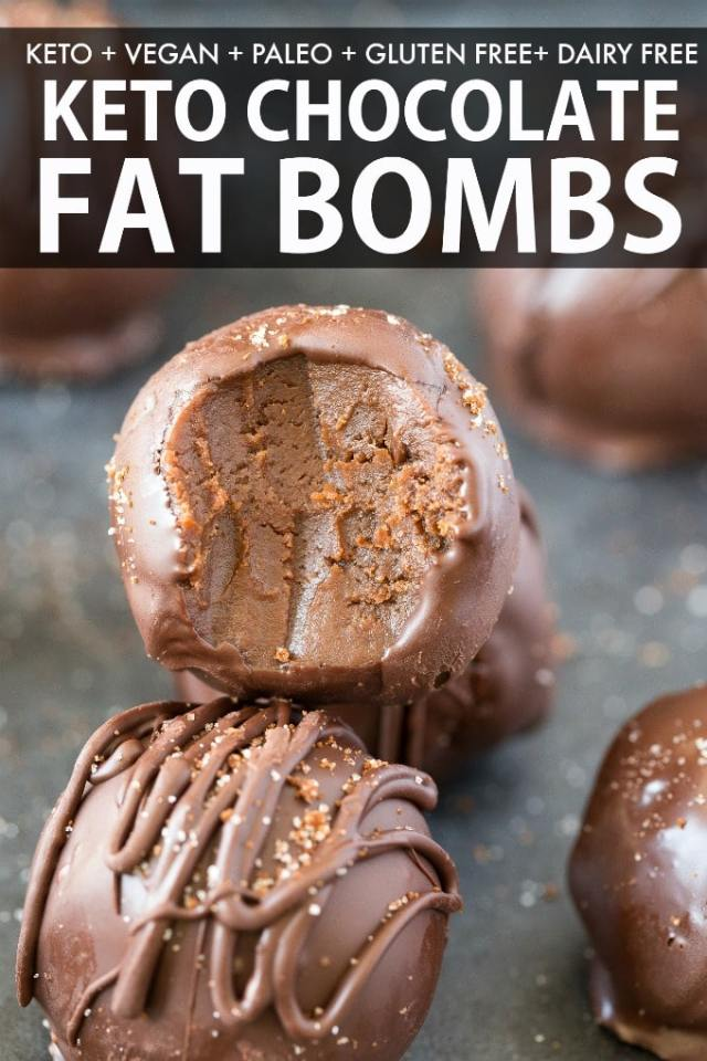 Keto Chocolate Fat Bombs recipe made with 2 ingredients and without cream cheese or coconut! Vegan, Paleo and Gluten Free