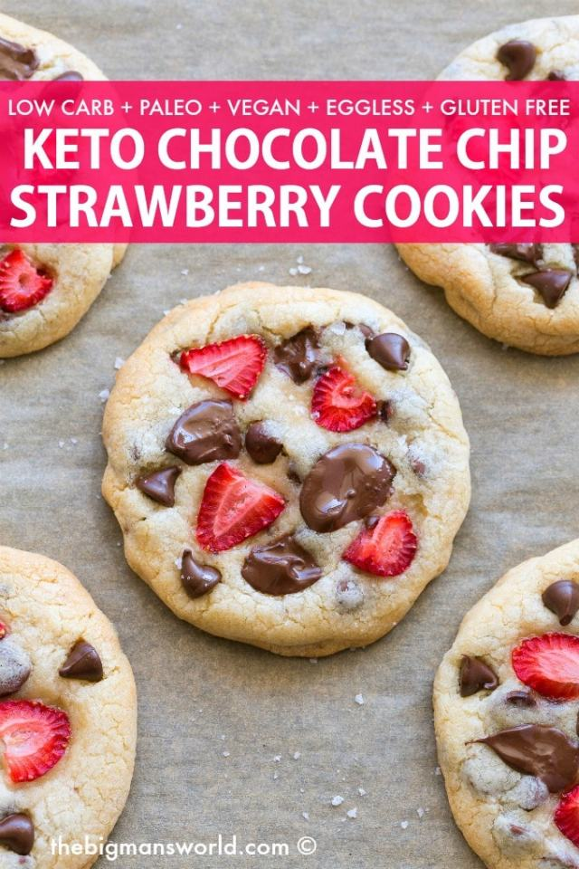Keto Strawberry Cookies with chocolate chips- Eggless, vegan and paleo!