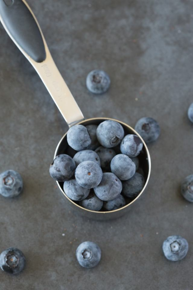 Fresh blueberries used in a healthy lemon blueberry loaf cake recipe
