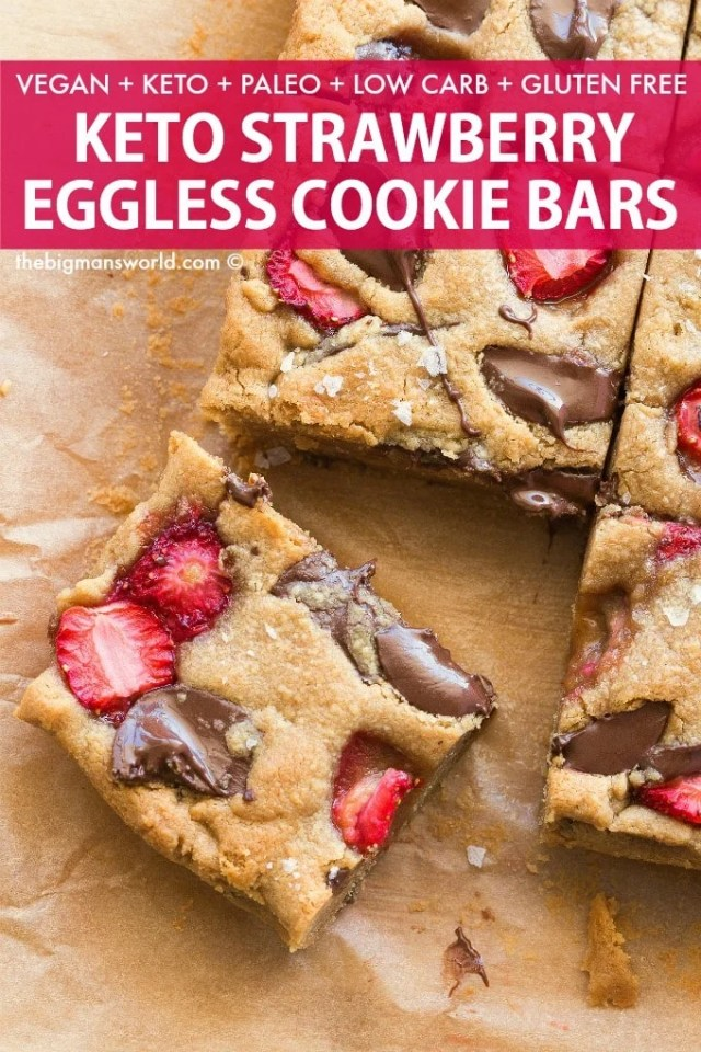Easy homemade strawberry cookie bars that taste like shortcake- Keto, paleo and gluten-free