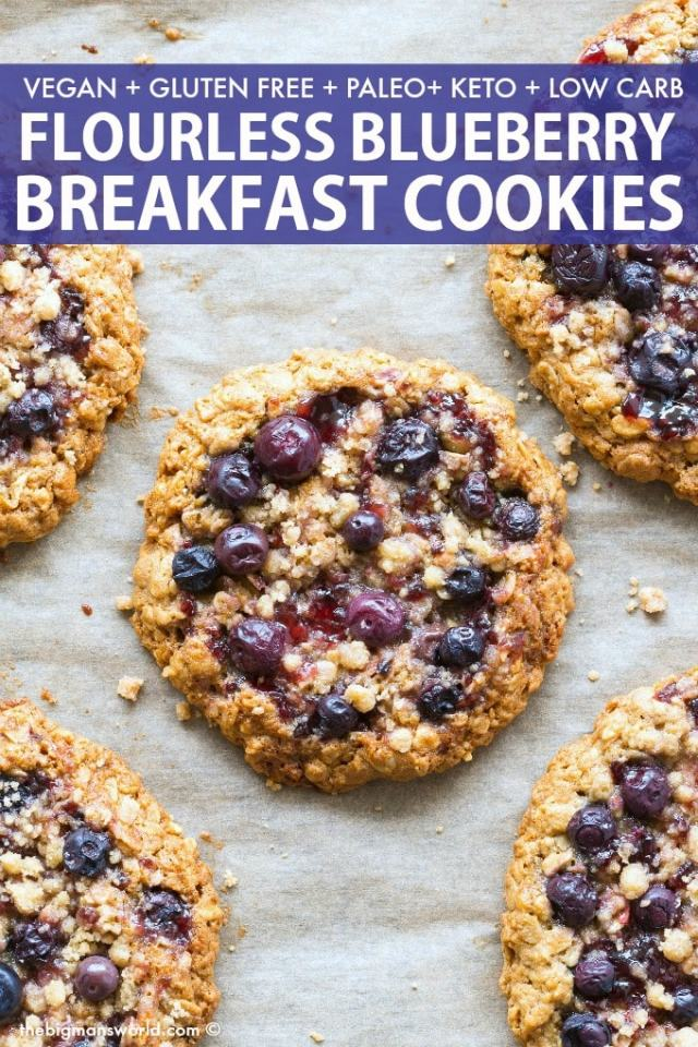 Healthy Blueberry Breakfast Cookies Recipe made with oatmeal, banana and peanut butter!