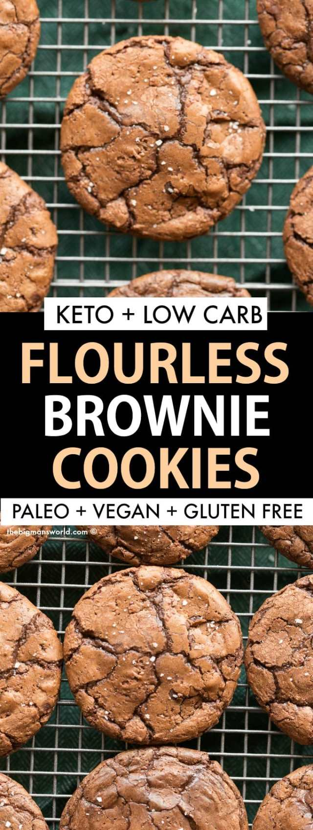 Healthy Keto and Low Carb Flourless Brownie Cookies made without sugar, without dairy and completely paleo and gluten free!
