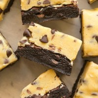 Keto and Vegan Brownies topped with eggless edible cookie dough on top!