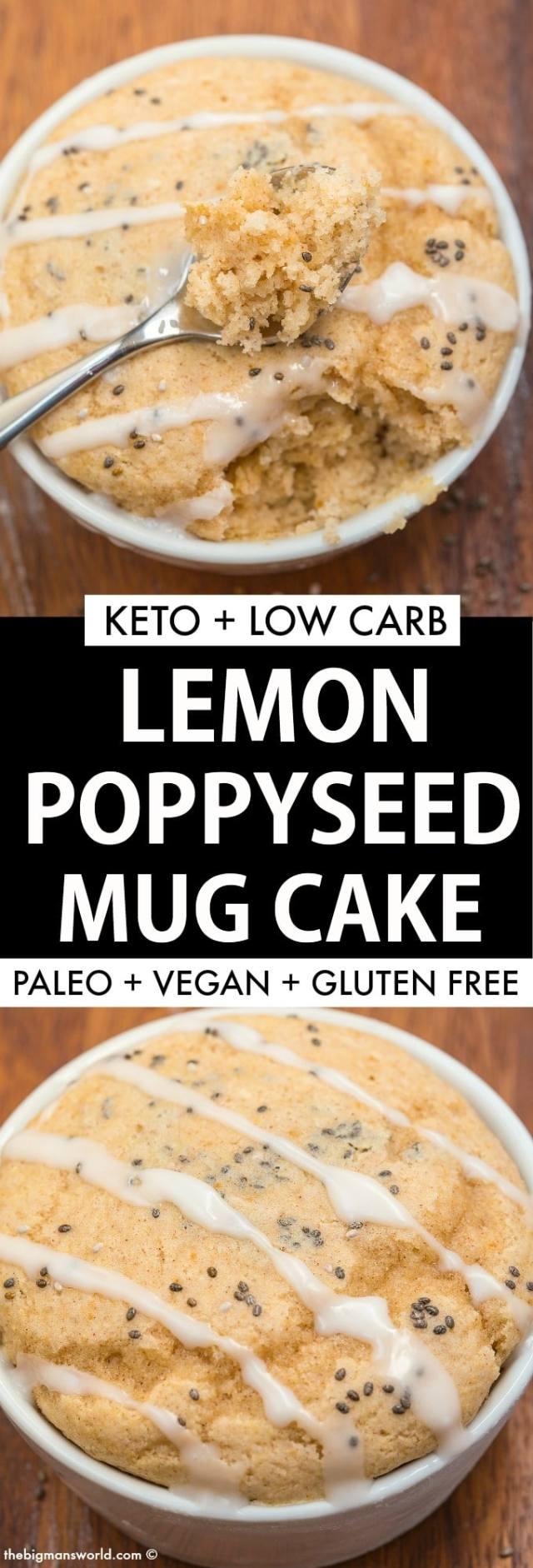 Keto Lemon Poppy Seed Mug Cake (Paleo, Vegan)