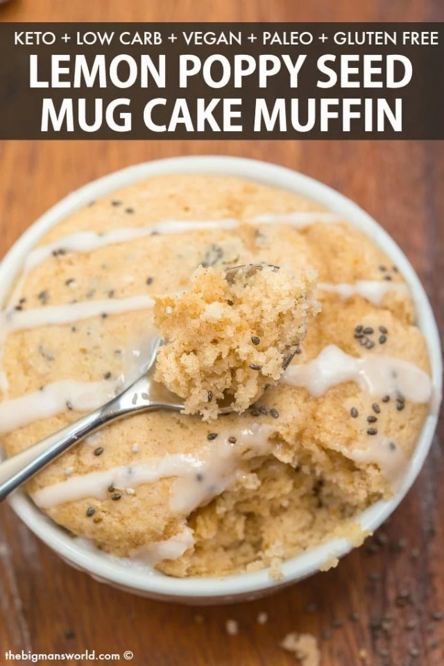 A keto low carb healthy lemon poppy seed mug cake muffin that is tender on the outside, moist on the inside!