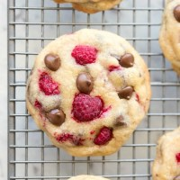 The BEST healthy chocolate chip cookies recipe with raspberries