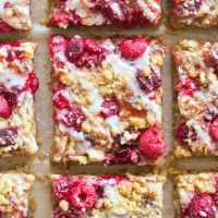 Fresh Raspberry Crumble Bars that are vegan and gluten free, perfect for dessert or breakfast!