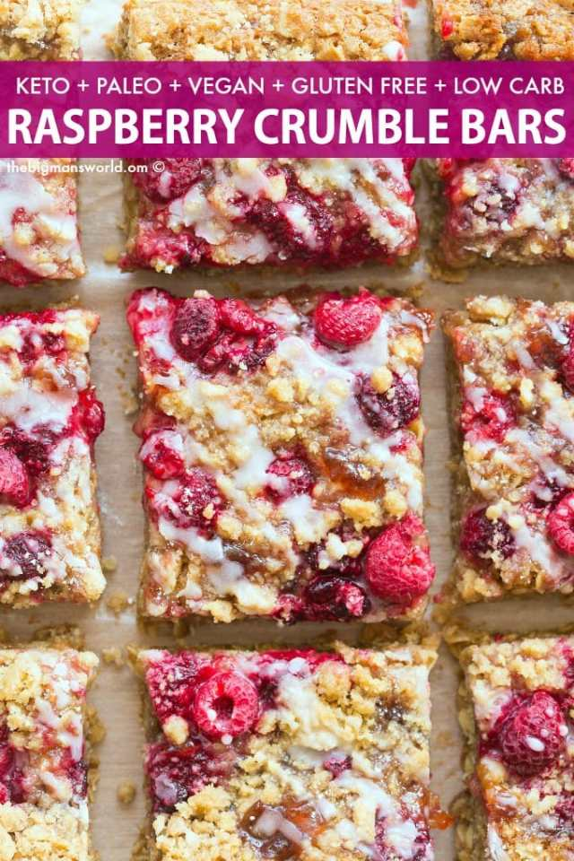 Easy Vegan Raspberry Crumble Bars recipe made keto and paleo!