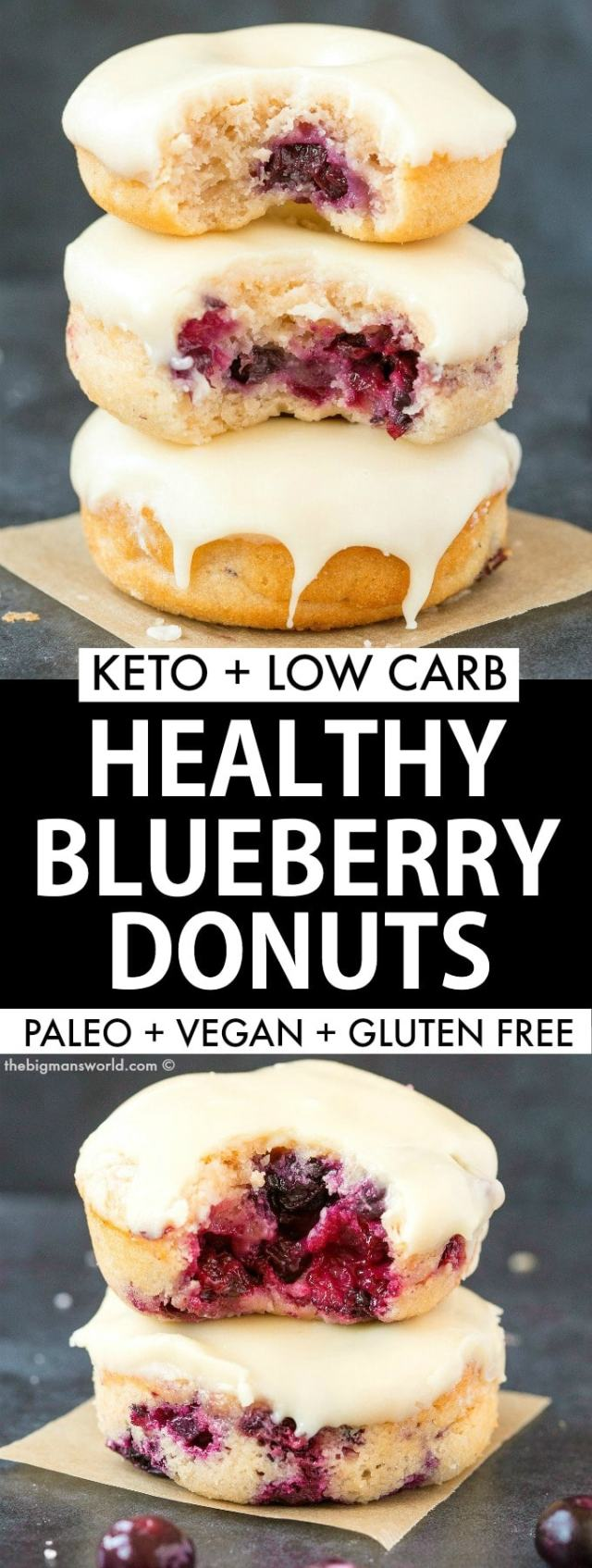 Easy baked blueberry donuts recipe made without yeast- paleo and vegan!