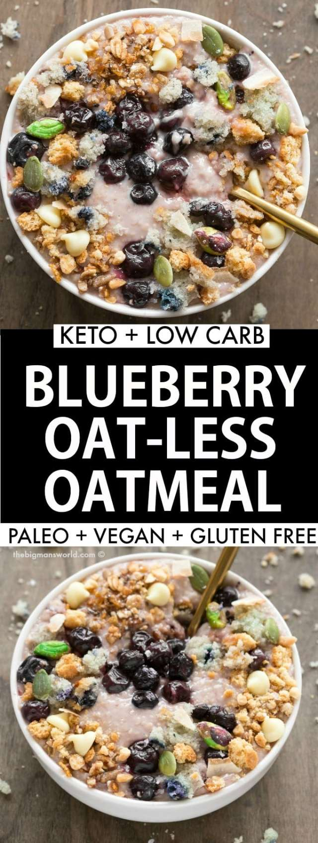 Keto Low Carb Overnight Blueberry Oatmeal recipe