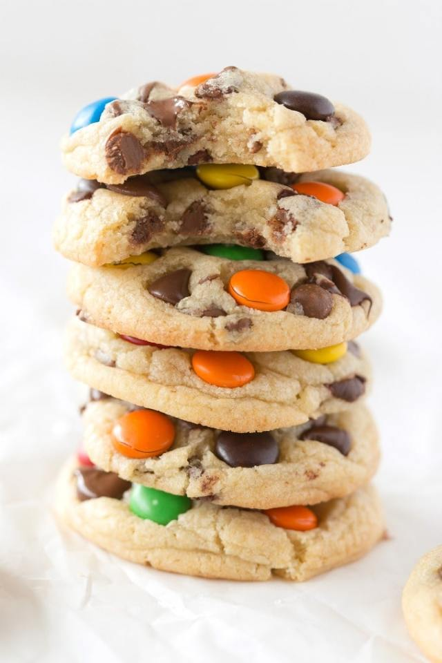 Keto M and M Cookies recipe- soft, chewy and made without eggs or sugar!