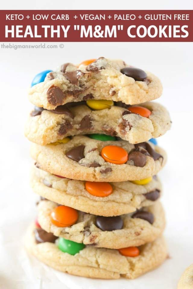 Easy keto and low carb m & m cookies recipe that is low carb and sugar free!