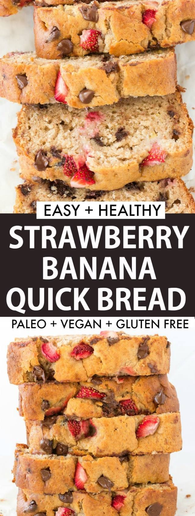 Easy Healthy Banana Bread with fresh strawberries! Low carb and vegan!