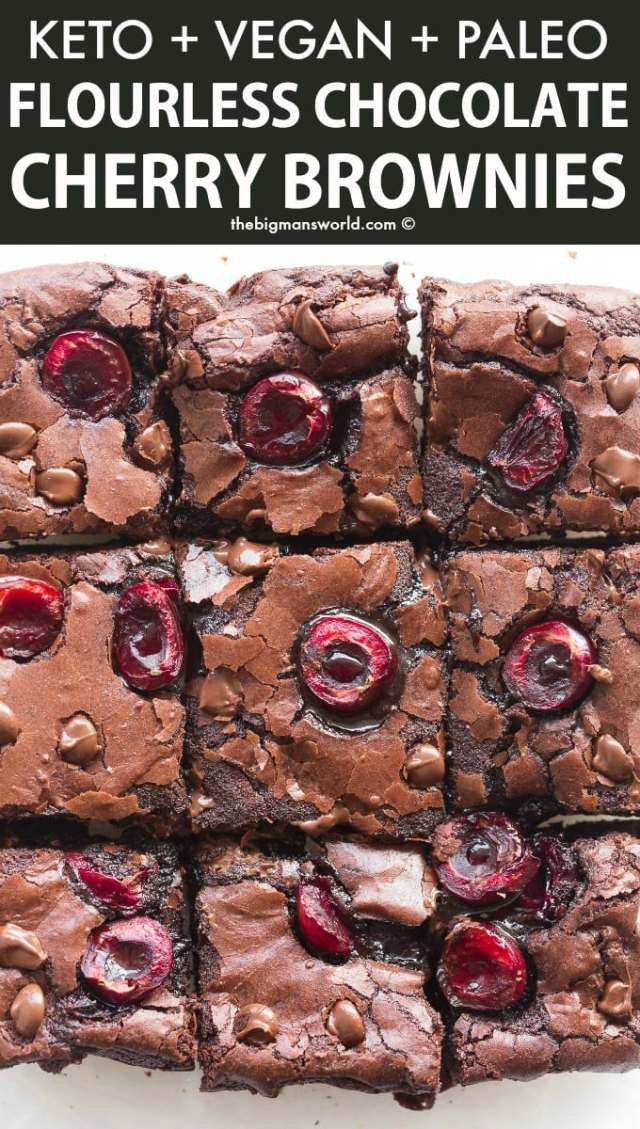 Vegan and Paleo Chocolate Fudge Brownies with cherries in them