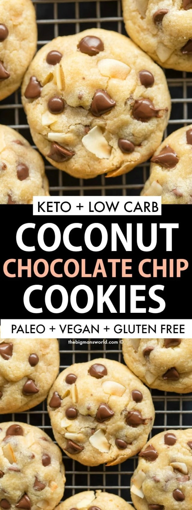Easy chocolate chip cookies with coconut recipe- Paleo, vegan and keto friendly!