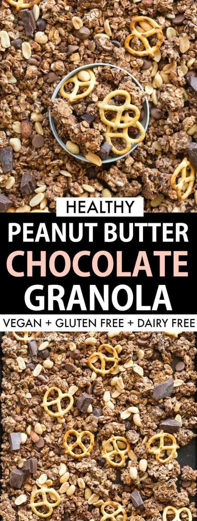 Easy homemade vegan chocolate peanut butter granola recipe