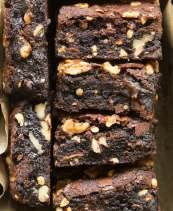 Brownies with walnuts on top