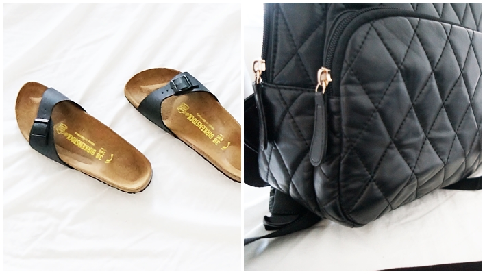 matte black birkenstock madrid and forever 21 backpack