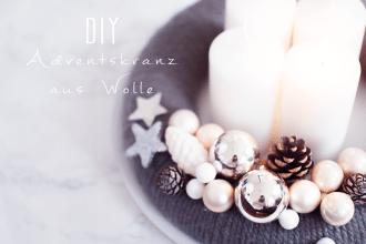 DIY moderner Adventskranz aus Wolle basteln