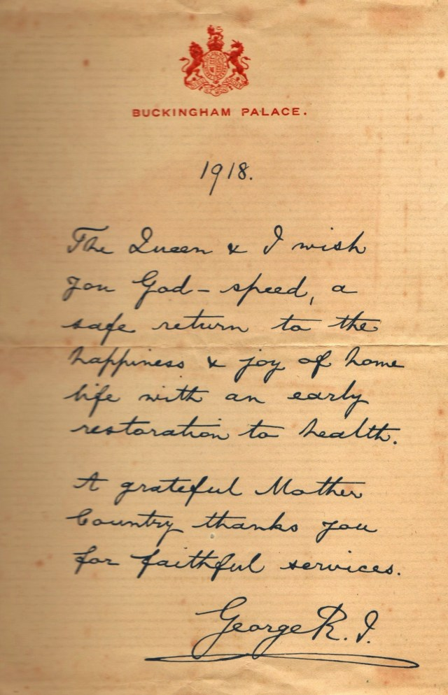 ARTHUR BREEDEN Letter King Geo V to Dad 1918