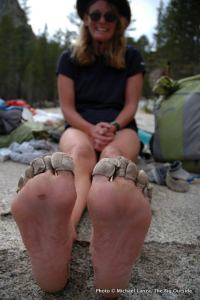 Heather Dorn's feet at Silver Pass Creek, day four.