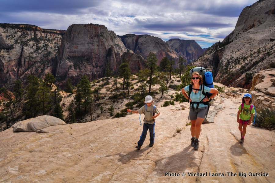 Woman and two young children backpacking the West Rim Trail in Zion National Park.
