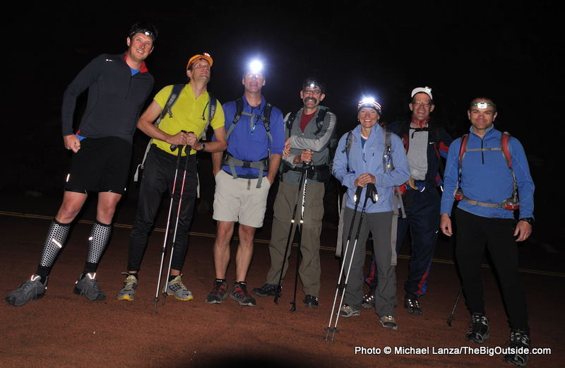 A group of hikers at 3 a.m. at the Lee Pass Trailhead in Zion National Park.