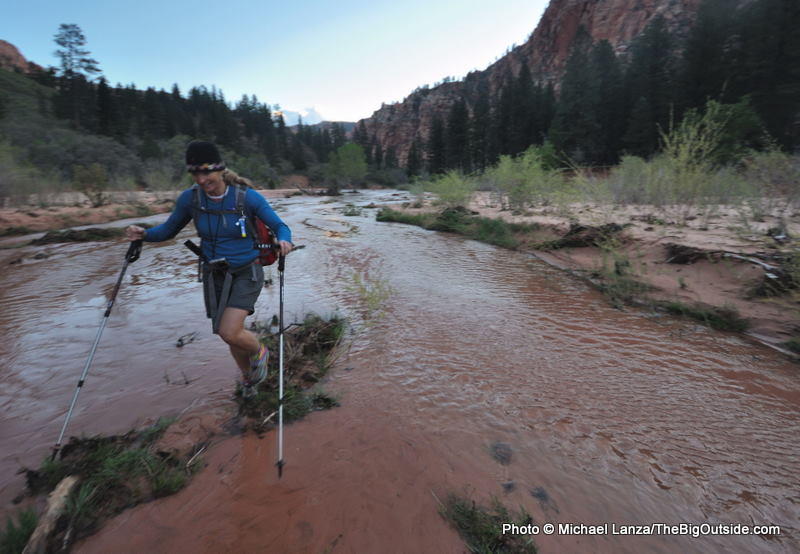 A hiker in the Hop Valley, Zion National Park.