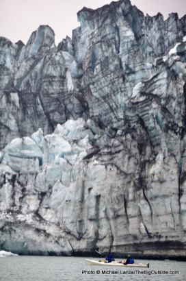 Kayakers, Lamplugh Glacier.