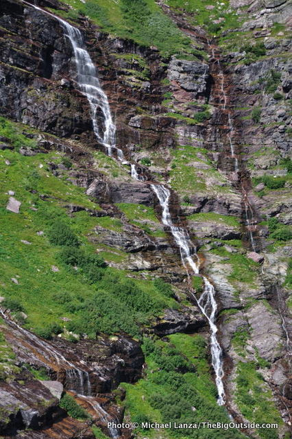 Waterfall above Gunsight Pass Trail.