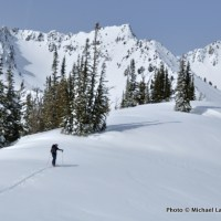 Skiing along Big Ridge above Norway Basin, in Oregon's Wallowa Mountains.
