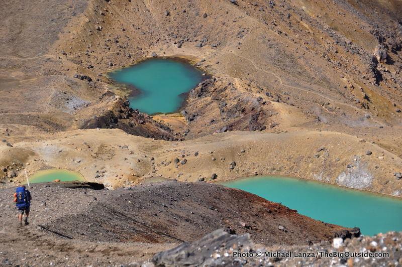 Trekker above Emerald Lakes