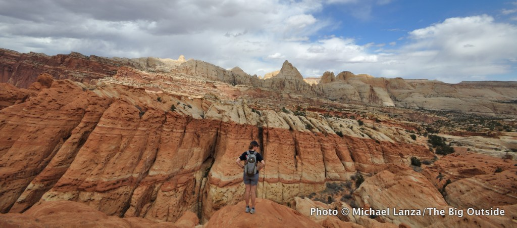 A hiker near the Frying Pan Trail, Capitol Reef National Park.