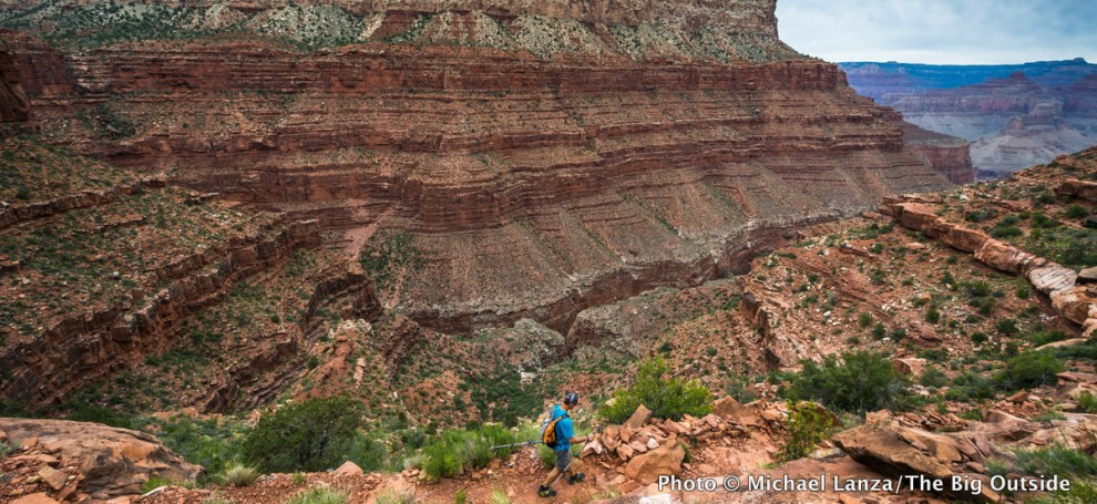 Hiking the Hermit Trail in the Grand Canyon.