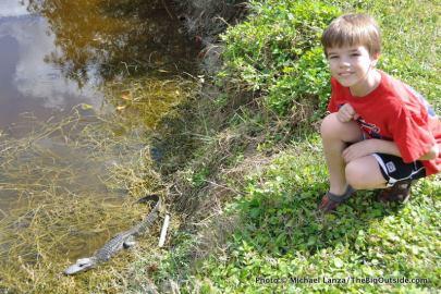 Nate and baby alligator, Everglades.