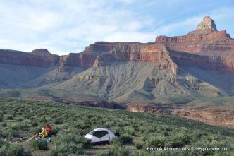Camp below Zoroaster Temple, Grand Canyon.