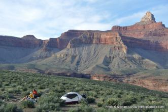 Camp below Zoroaster Temple, Grand Canyon.
