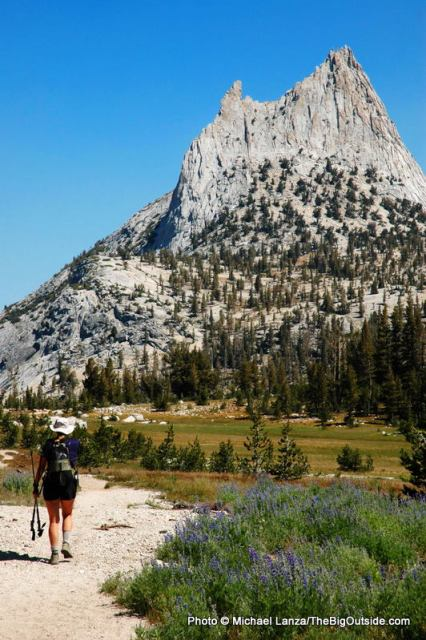 Heather Dorn on the JMT below Cathedral Peak in Yosemite.