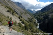 Hiking to the Torres del Paine towers.