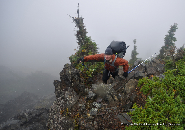 David Ports scrambling the Catwalk in Olympic National Park.