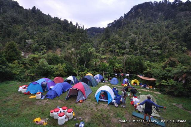 Campsite at John Coull Hut, Whanganui River, Whakahoro to Pipiriki, Whanganui River Journey, Whanganui National Park.